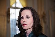 STOCKHOLM 2017-10-05<br /> Sara Danius talar med reportrar efter att ha tillk&auml;nnagett Nobelpriset i litteratur 2017<br /> Foto: Nils Petter Nilsson/Ombrello