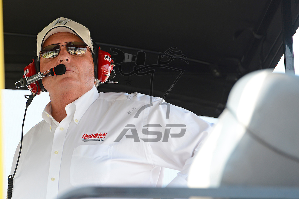 Joliet, IL - SEP 16, 2012: Car owner of Jimmie Johnsons Lowes Chevy, Rick Hendrick watches from the pit box during the Geico 400 at the Chicagoland Speedway in Joliet, IL.
