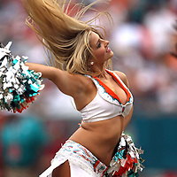 A Dolphins cheerleader performs during an NFL football game between the New York Jets and the Miami Dolphins on Sunday, September 23, 2012 at SunLife Stadium in Miami, Florida. (AP Photo/Alex Menendez)