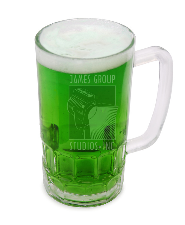 An Irish themed brew in a chilled glass mug isolated over white. clipping path included.