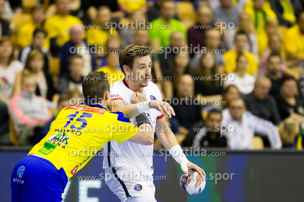 Vid Poteko of RK Celje Pivovarna Lasko during handball match between RK Celje Pivovarna Lasko (SLO) and Paris Saint-Germain (FRA) in Round #5 of Group Phase of EHF Champions League 2015/16, on October 18, 2015 in Arena Zlatorog, Celje, Slovenia. Photo by Urban Urbanc / Sportida