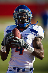 Sep. 18, 2009; Fresno, CA, USA; Boise State Broncos wide receiver Titus Young (4) before the game at Bulldog Stadium. Boise State defeated the Fresno State Bulldogs 51-34.