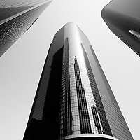 Los Angeles office buildings black and white picture. View is archtectual taken from the base of the buildings looking upward toward the sky. Photo is high resolution and was taken in 2012.