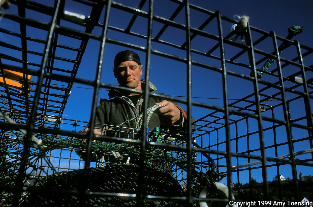 MONHEGAN ISLAND, MAINE - NOVEMBER 03: Lobsterman Chris Rollins untangles and organizes gear while sorting traps in preparation for the beginning of the lobstering season, November 3, 1999 on Monhegan Island, Maine. Long hours of bagging bait and repairing old traps make up the days leading to the opening day of the lobstering season, called Trap Day. Monhegan Island, home to lobstermen and painters and a popular destination for tourists is twelve miles off the coast of Maine. Ringed by high, dark cliffs, its interior a mix of meadows, marsh and spruce groves, Monhegan is one of just 14 true island communities left off the coast of Maine. The island has a 65 permanent, year-round residents and the population grows to around 200 in the summer, with day-trippers adding several hundred more. (Photo by Amy Toensing) _________________________________________<br /> <br /> For stock or print inquires, please email us at studio@moyer-toensing.com.