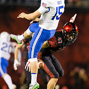 12 October 2018: San Diego State Aztecs linebacker Kaelin Himphill (47) blocks the punt from Air Force Falcons punter Charlie Scott (15) in the second quarter. The San Diego State Aztecs lead 14-9 at the half against the Air Force Falcons at SDCCU Stadium Friday night.