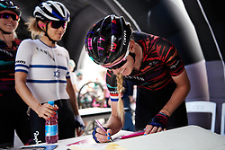 Hannah Barnes (GBR) before Stage 10 of 2019 Giro Rosa Iccrea, a 120 km road race from San Vito al Tagliamento to Udine, Italy on July 14, 2019. Photo by Sean Robinson/velofocus.com