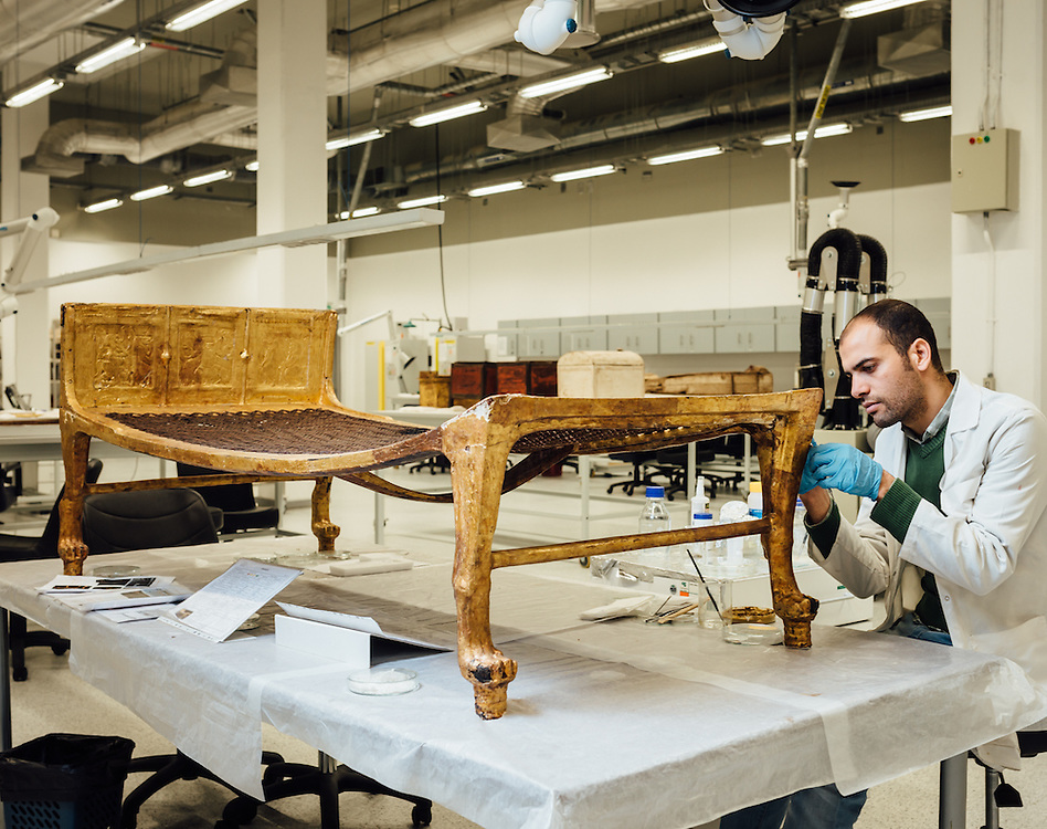 After a five-year touring exhibition in the United States and Japan, King Tutankhamun's golden wooden bed was transferred to the Grand Egyptian Museum in 2013 to undertake restoration in preparation for display in the museum's King's Hall when it opens.