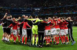 Wales players and staff celebrate after the game  - Mandatory by-line: Joe Meredith/JMP - 01/07/2016 - FOOTBALL - Stade Pierre Mauroy - Lille, France - Wales v Belgium - UEFA European Championship quarter final