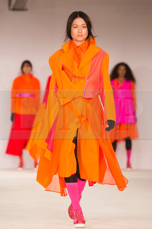 © Licensed to London News Pictures. 31/05/2014. London, England. Collection by Louise Bell from Edinburgh College of Art. Graduate Fashion Week 2014, Runway Show at the Old Truman Brewery in London, United Kingdom. Photo credit: Bettina Strenske/LNP