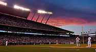 June 30, 2017 - Kansas City, MO, USA - The sun sets behind Kauffman Stadium in Kansas City, Mo., as the Kansas City Royals play host to the Minnesota Twins on Friday, June 30, 2017. (Credit Image: © John Sleezer/TNS via ZUMA Wire)