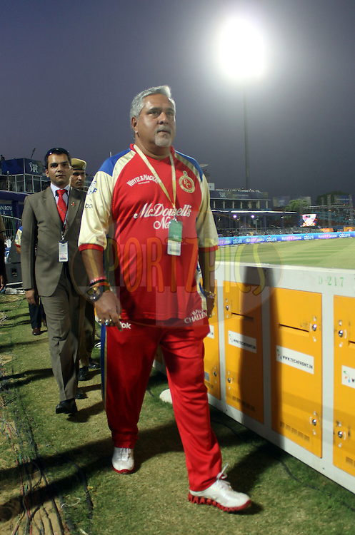 Owner of Royal challengers Vijay Mallya during match 55 of the the Indian Premier League ( IPL ) Season 4 between the Rajasthan Royals and the Royal Challengers Bangalore held at the Sawai Mansingh Stadium, Jaipur, Rajatshan, India on the 11th May 2011..Photo by Sandeep ShettyBCCI/SPORTZPICS.