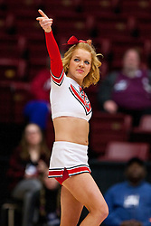 March 19, 2011; Stanford, CA, USA; A Texas Tech Lady Raiders cheerleader performs during the second half of the first round of the 2011 NCAA women's basketball tournament against the St. John's Red Storm at Maples Pavilion. St. John's defeated Texas Tech 55-50.