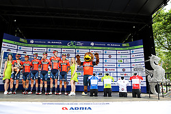 Phil Bauhaus (GER) of Bahrain - Merida, Heinrich Haussler (AUS) of Bahrain - Merida, Yukiya Arashiro (JPN) of Bahrain - Merida, Domen Novak (SLO) of Bahrain - Merida, Grega Bole (SLO) of Bahrain - Merida, Marcel Sieberg (GER) of Bahrain - Merida and mascot during 1st Stage of 26th Tour of Slovenia 2019 cycling race between Ljubljana and Rogaska Slatina (171 km), on June 19, 2019 in  Slovenia. Photo by Matic Klansek Velej / Sportida