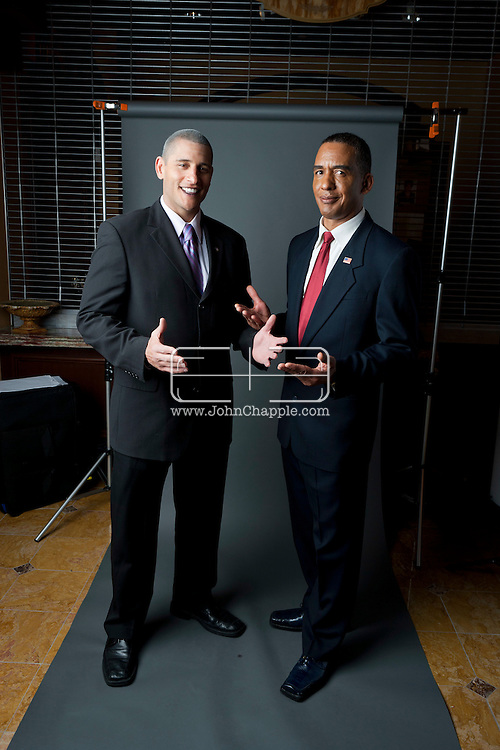 24th February 2011. Las Vegas, Nevada.  Celebrity Impersonators from around the globe were in Las Vegas for the 20th Annual Reel Awards Show. Pictured is Aaron Norvell (left) and Michael Bryant, both  as Barack Obama. Photo © John Chapple / www.johnchapple.com..