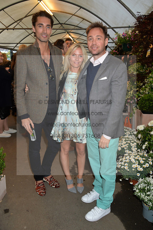 Left to right, HUGO TAYLOR, VICTORIA McCARTHY and DAN PHILIPSON at a party to celebrate the launch of the Taylor Morris Eyewear's Summer Collection held at The Chelsea Gardner, 125 Sydney Street, London on 20th May 2015.