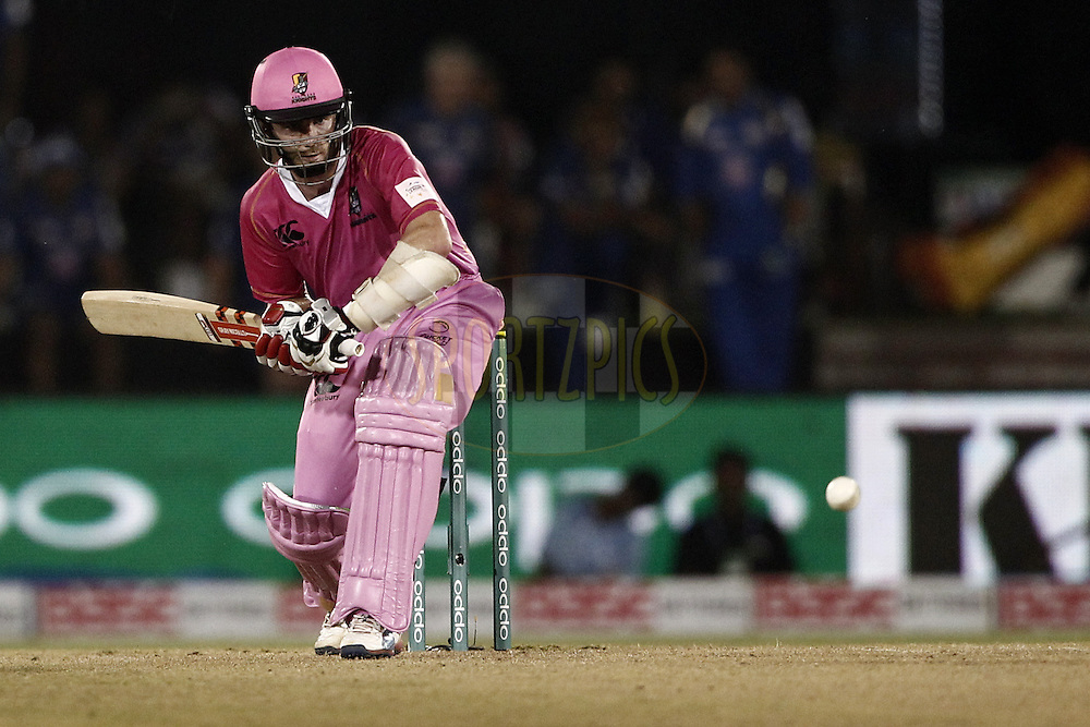 Kane Williamson of the NORTHERN KNIGHTS hit the shot during the qualifier 1 match of the Oppo Champions League Twenty20 between the Northern Knights and the Southern Express held at the Chhattisgarh International Cricket Stadium, Raipur, India on the 13th September 2014<br /> <br /> Photo by:  Deepak Malik / Sportzpics/ CLT20<br /> <br /> <br /> Image use is subject to the terms and conditions as laid out by the BCCI/ CLT20.  The terms and conditions can be downloaded here:<br /> <br /> http://sportzpics.photoshelter.com/gallery/CLT20-Image-Terms-and-Conditions-2014/G0000IfNJn535VPU/C0000QhhKadWcjYs