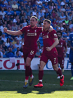 Football - 2018 / 2019 Premier League - Cardiff City v Liverpool<br /> <br /> James Milner of Liverpool celebrates scoring his team's second goal with Jordan Henderson of Liverpool, at Cardiff City Stadium.<br /> <br /> COLORSPORT/WINSTON BYNORTH