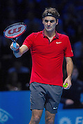 Switzerland's Roger Federer during the Roger Federer vs Andy Murray match at the Barclays ATP World Tour Finals, O2 Arena, London, United Kingdom on 13th November 2014 © Phil Duncan | Pro Sports Images