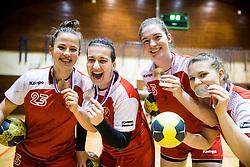 3rd placed Players of RK Celje Urska Robic, Pavlina Stropnik ... celebrate after the handball match between RK Krim Mercator and ZRK Z'Dezele Celje in Last Round of Slovenian National Championship 2016/17, on April 18, 2017 in Arena Galjevica, Ljubljana, Slovenia. Photo by Vid Ponikvar / Sportida