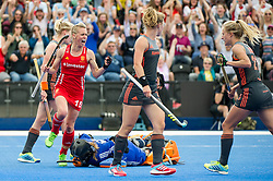 Alex Danson celebrates her goal. England v The Netherlands, Lee Valley Hockey and Tennis Centre, London, England on 11 June 2017. Photo: Simon Parker