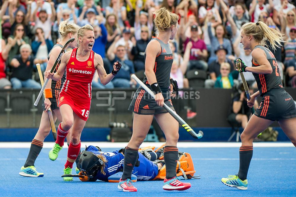 Alex Danson celebrates her goal. England v The Netherlands, Lee Valley Hockey and Tennis Centre, London, England on 11 June 2017. Photo: Simon Parker