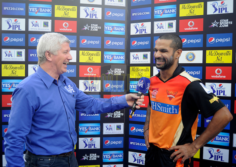 Shikhar Dhawan captain of the Sunrisers Hyderabad during the presentation after match 12 of the Pepsi Indian Premier League Season 7 between the Sunrisers Hyderabad and the Delhi Daredevils held at the Dubai International Stadium, Dubai, United Arab Emirates on the 25th April 2014<br /> <br /> Photo by Pal Pillai / IPL / SPORTZPICS