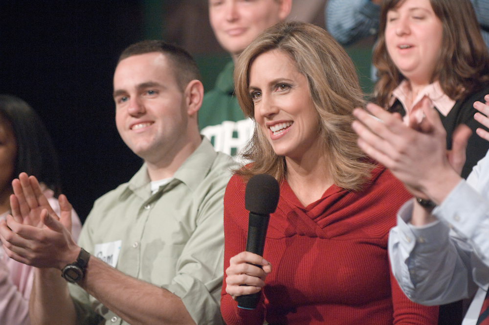 18585FOX News at Ohio University in Baker Center Theater on March 5, 2008...Sam Eliason and Alisyn Camerota