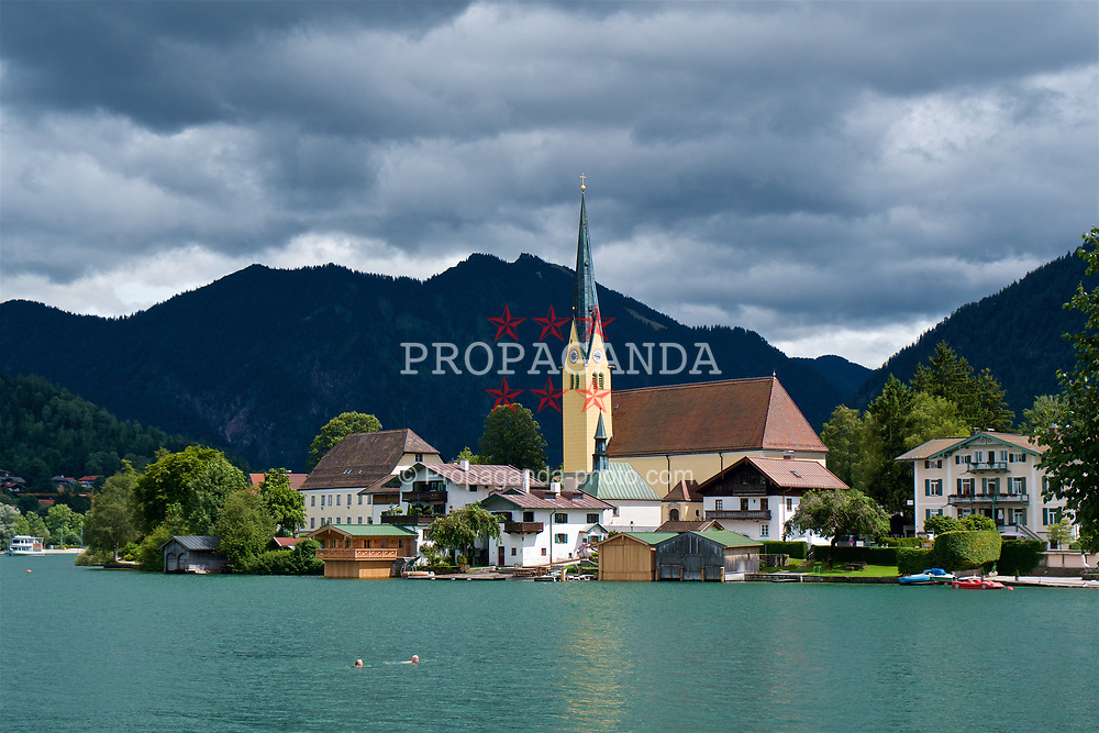 ROTTACH-EGERN, GERMANY - Wednesday, July 26, 2017: Two elderly swimmers in Lake Tegernsee in Rottach-Egern, the base for Liverpool's preseason training camp in Germany. (Pic by David Rawcliffe/Propaganda)