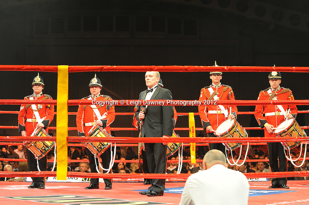 Military Band at the Aintree Equestrian Centre, Liverpool on the 19th May 2012 playing before the David Price, Sam Sexton British & Commonwealth Heavyweight Title fight. Frank Maloney Promotions © Leigh Dawney Photography 2012.