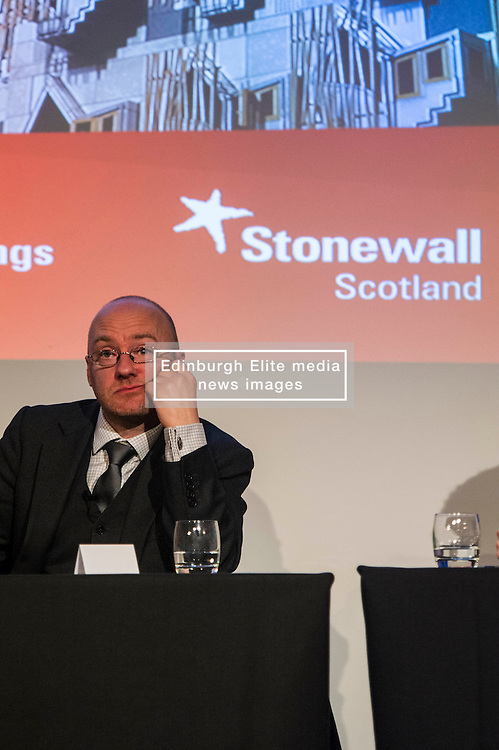 Pictured: Patrick Harvey<br /> <br /> Party leaders Nicola Sturgeon, Kezia Dugdale, Ruth Davidson, Willie Rennie and Patrick Harvie faced questions from the public at an LGBTI election hustings event arranged by Stonewall Scotland, LGBT youth Scotland, Equaity Network and The Scottish Equality Network at the Royal College of Surgeons of Edinburgh. Edinburgh. 31 March 2016<br /> <br /> Ger Harley   Edinburghelitemedia.co.uk