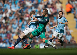 Kevin De Bruyne of Manchester City (L) and Christian Eriksen of Tottenham Hotspur in action - Mandatory by-line: Jack Phillips/JMP - 20/04/2019 - FOOTBALL - Etihad Stadium - Manchester, England - Manchester City v Tottenham Hotspur - English Premier League