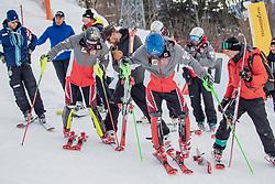 29.01.2019, Planai, Schladming, AUT, FIS Weltcup Ski Alpin, Slalom, Herren, Streckenbesichtigung, im Bild v.l.: Manuel Feller (AUT), Marco Schwarz (AUT) // f.l.: Manuel Feller of Austria Marco Schwarz of Austria during course inspection for the men's Slalom of FIS ski alpine world cup at the Planai in Schladming, Austria on 2019/01/29. EXPA Pictures © 2019, PhotoCredit: EXPA/ Dominik Angerer