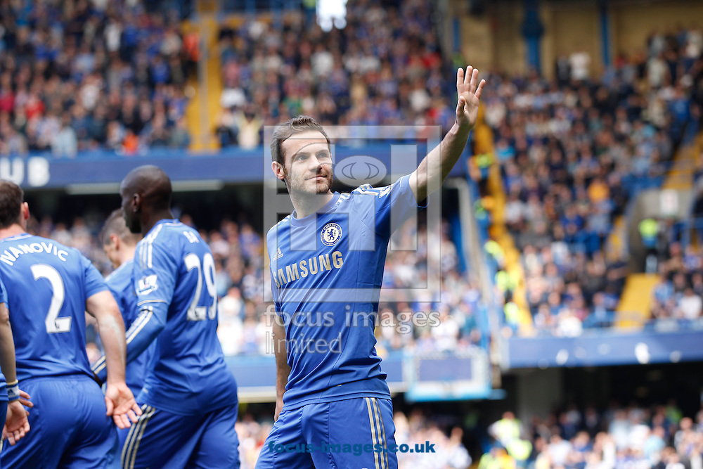 Picture by Andrew Tobin/Focus Images Ltd +44 7710 761829.19/05/2013. Juan Mata of Chelsea celebrates after scoring their first goal during the Barclays Premier League match at Stamford Bridge, London.