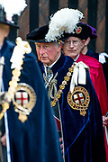 "Koning Willem Alexander wordt door Hare Majesteit Koningin Elizabeth II geïnstalleerd in de 'Most Noble Order of the Garter'. Tijdens een jaarlijkse ceremonie in St. Georgekapel, Windsor Castle, wordt hij geïnstalleerd als 'Supernumerary Knight of the Garter'.<br /> <br /> King Willem Alexander is installed by Her Majesty Queen Elizabeth II in the ""Most Noble Order of the Garter"". During an annual ceremony in St. George's Chapel, Windsor Castle, he is installed as ""Supernumerary Knight of the Garter"".<br /> <br /> Op de foto / On the photo: Charles prins van Wales / Charles prince of  Wales"
