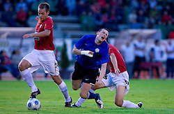 Nikolai Losanov between Tuomas Marko Kolsi and Rusmin Dedic of Rudar at 1st Round of Europe League football match between NK Rudar Velenje (Slovenia) and Trans Narva (Estonia), on July 9 2009, in Velenje, Slovenia. Rudar won 3:1 and qualified to 2nd Round. (Photo by Vid Ponikvar / Sportida)