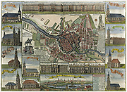 Map of Berlin in the late 17th century, showing the fortress and numerous churches