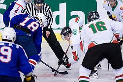 Geun Ho Kim of Korea vs Gergo Nagy of Hungary at IIHF Ice-hockey World Championships Division I Group B match between National teams of Korea and Hungary, on April 17, 2010, in Tivoli hall, Ljubljana, Slovenia. Hungary defeated Korea 4-2. (Photo by Matic Klansek Velej / Sportida)