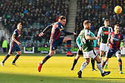 A shot a goal by Paul Taylor (10) of Bradford City is deflected by David Fox (24) of Plymouth Argyle during the EFL Sky Bet League 1 match between Plymouth Argyle and Bradford City at Home Park, Plymouth, England on 24 February 2018. Picture by Graham Hunt.
