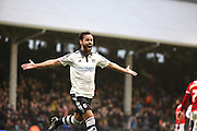 Fulham defender, Michael Madl (15) celebrating scoring second goal of the game during the Sky Bet Championship match between Fulham and Charlton Athletic at Craven Cottage, London, England on 20 February 2016. Photo by Matthew Redman.