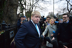 © Licensed to London News Pictures. 21/02/2016. London, UK. Mayor of London BORIS JOHNSON makes a statement on the steps of  his London home where he is is expected to announce if he will campaign to leave or stay in the EU. Photo credit: Ben Cawthra/LNP