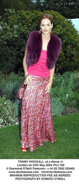 TRINNY WOODALL. at a dinner in London on 24th May 2004.PUJ 109