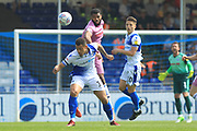 Ethan banks Landell wins a header during the EFL Sky Bet League 1 match between Bristol Rovers and Rochdale at the Memorial Stadium, Bristol, England on 22 April 2019.