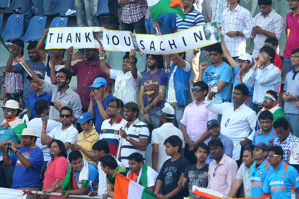 GV of the crowd during day two of the second Star Sports test match between India and The West Indies held at The Wankhede Stadium in Mumbai, India on the 15th November 2013<br /> <br /> This test match is the 200th test match for Sachin Tendulkar and his last for India.  After a career spanning more than 24yrs Sachin is retiring from cricket and this test match is his last appearance on the field of play.<br /> <br /> <br /> Photo by: Ron Gaunt - BCCI - SPORTZPICS<br /> <br /> Use of this image is subject to the terms and conditions as outlined by the BCCI. These terms can be found by following this link:<br /> <br /> http://sportzpics.photoshelter.com/gallery/BCCI-Image-Terms/G0000ahUVIIEBQ84/C0000whs75.ajndY