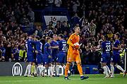 Chelsea FC forward Alvaro Morata (29) celebrates his goal with team mates during the Europa League match between Chelsea and MOL Vidi at Stamford Bridge, London, England on 4 October 2018.