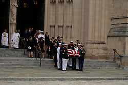 Television host Jay Leno arrives prior to a funeral service for late Senator John McCain, Republican of Arizona, at the National Cathedral in Washington, DC on September 1, 2018. Credit: Alex Edelman / CNP. 01 Sep 2018 Pictured: A Military Honor Guard carries the casket of late Senator John McCain, Republican of Arizona, followed by his family after a funeral service at the National Cathedral in Washington, DC on September 1, 2018. Credit: Alex Edelman / CNP. Photo credit: Alex Edelman - CNP / MEGA TheMegaAgency.com +1 888 505 6342
