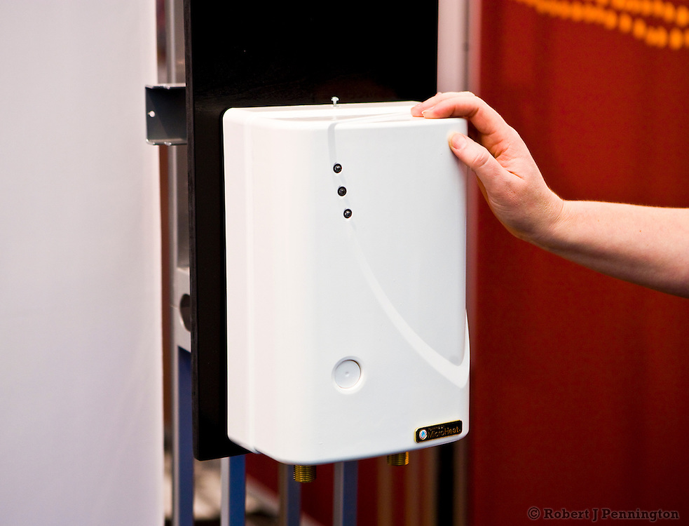 Trade Show at Globe 2010, featuring sustainable and green products and services. Electric Instantaneous Hot Water System, by MicroHeat Technology PTY LTD. From Australia.