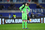 Cluj goalkeeper Giedrius Arlauskis reacts at the end of the UEFA Europa League, Group E football match between SS Lazio and CFR Cluj on November 28, 2019 at Stadio Olimpico in Rome, Italy - Photo Federico Proietti / ProSportsImages / DPPI
