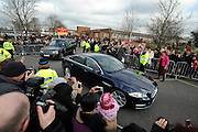 © Licensed to London News Pictures. 21/02/2012, Oxford, UK. The motorcade leaves. Kate Middleton meets members of the public who have waited in the freezing cold for over two hours outside the school. The Duchess of Cambridge Kate Middleton leaves Rose Hill Primary School in Oxford today 21 February 2012. Photo credit : Stephen Simpson/LNP