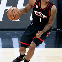 01 May 2017: Houston Rockets forward Trevor Ariza (1) dribbles during the Houston Rockets 126-99 victory over the San Antonio Spurs, in game 1 of the Western Conference Semi Finals, at the AT&T Center, San Antonio, Texas, USA.
