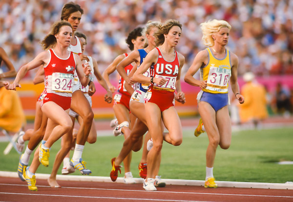 LOS ANGELES -  AUGUST 10:  L-R Comelia Buerki #324 (SUI), Mary Decker #373 (USA), Maricica Puica #316 (ROM) and others run the Women's 3000 meter final of the 1984 gggOlympics held in the Los Angeles Memorial Coliseum in Los Angeles, California on August 10, 1984.  (Photo by David Madison/Getty Images) *** Local Caption *** Comelia Buerki;Mary Decker;Maricica Puica